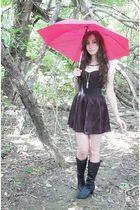 black dress - black Mandee skirt - black boots