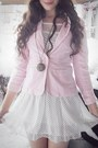 White-polkadotted-online-shop-dress-light-pink-comfy-handmedown-blazer-black