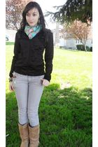black Wet Seal jacket - H&M scarf - gray - GoJane boots