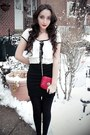White-outlined-shirt-red-bag-black-maryjane-payless-heels-black-tight-char
