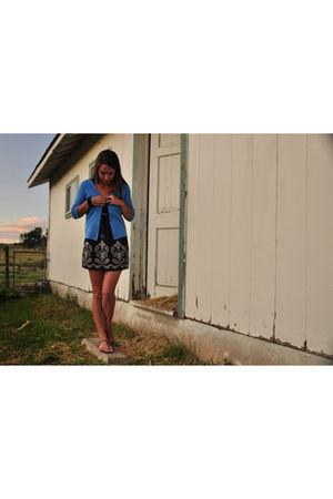black Daytrip dress - blue hampshire studio cardigan - brown Anne Klein shoes -