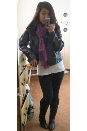 Target jacket - American Apparel shirt - scarf - J Brand jeans - Dolce Vita boot