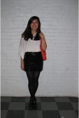 Target shirt - Express skirt - H&M stockings - GoJane shoes - coach purse