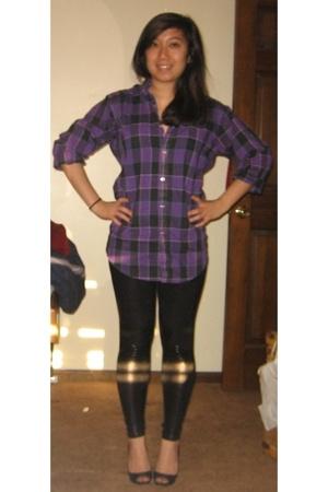 purple shirt - black pants