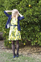 navy Cocolatte blazer - light yellow lemon print Princess Highway dress