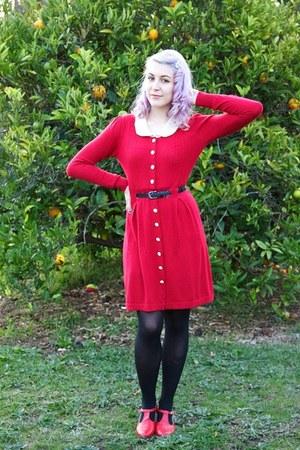 red Alannah Hill dress - black supre belt - red Golden Ponies heels