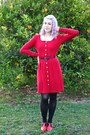 Red-alannah-hill-dress-black-supre-belt-red-golden-ponies-heels