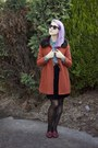 Ruby-red-thrifted-loafers-carrot-orange-princess-highway-coat