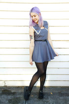 charcoal gray bow Bonne Chance Collections dress - creepers Ebay shoes