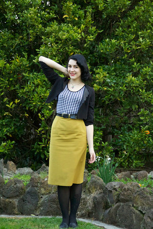 mustard thrifted skirt - black asos jacket - black Target vest