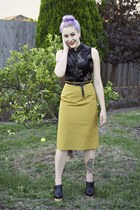 black thrifted top - mustard thrifted skirt - black supre belt