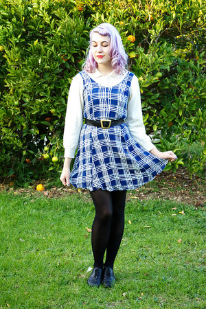 blue thrifted dress - cream thrifted sweater - black thrifted belt