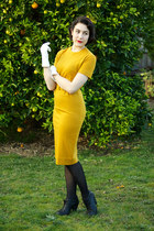 mustard vintage dress - black boots - white vintage gloves