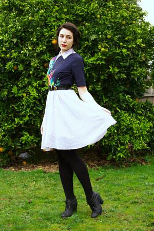 black boots - white Princess Highway dress - black thrifted belt - navy asos top
