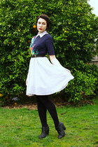 black boots - white Princess Highway dress - black thrifted belt - navy asos top
