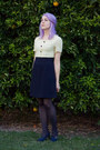 Navy-yellow-floral-vintage-dress-heather-gray-stockings-navy-thrifted-heels