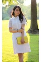 white cotton JCrew dress - light yellow leather kate spade bag