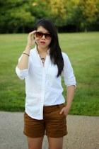 white Uniqlo shirt - bronze JCrew shorts - dark brown asos sunglasses