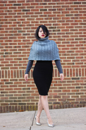 charcoal gray wool echo cape - silver BCBG pumps - black H&M skirt