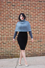 Charcoal-gray-wool-echo-cape-silver-bcbg-pumps-black-h-m-skirt