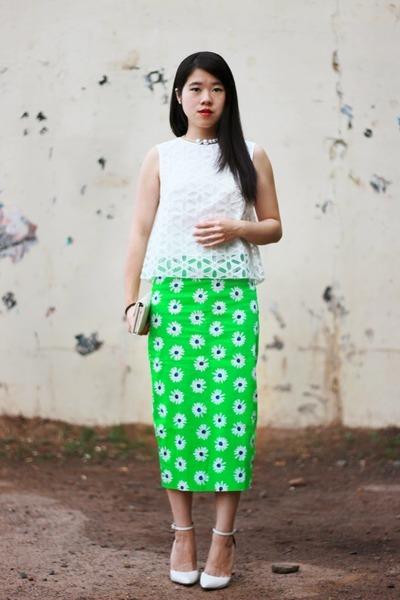 white asos top - white leather Schutz pumps - green cotton asos skirt