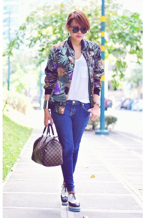 white Primadonna shoes - blue skinny jeans - purple floral bomber jacket