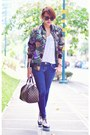 White-primadonna-shoes-blue-skinny-jeans-purple-floral-bomber-jacket