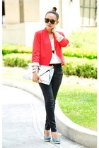 black waxed jeans - carrot orange blazer - silver elektra clutch Gold Dot bag