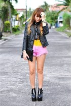 black Jeffrey Campbell shoes - black faux leather jacket