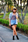 Topshop-blue-shorts-gray-details-blazer-hat