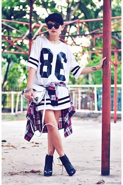 white shirtdress shirt - ruby red flannel shirt - black boots