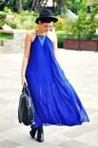 blue maxi dress - black buckled boots boots