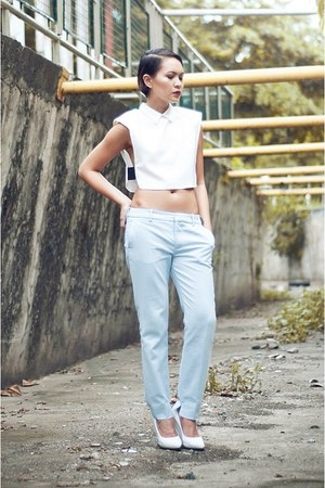 light blue Peg trousers pants - white pumps wedges - Celine wedges
