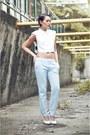 Light-blue-peg-trousers-pants-white-pumps-wedges-celine-wedges