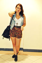 blue from a bazaar vest - Love Vintage Manila shorts - black Forever 21