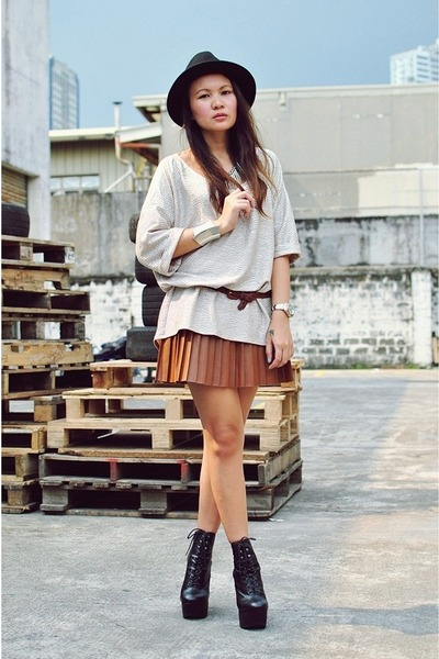 tawny pleated leather Shop Incez Axe skirt