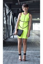 yellow neon scuba dress - black foldover clutch sm accessories purse