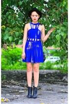 black constance Alexander Wang boots - blue dress
