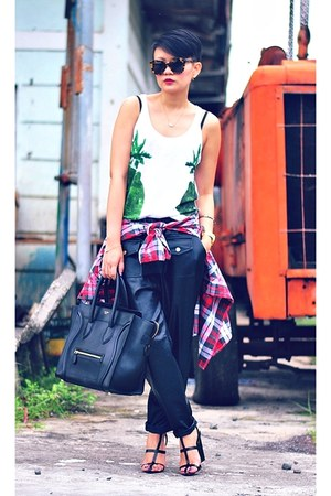 white palm tree print top - maroon plaid shirt - black mini luggage Celine bag