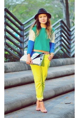 silver clutch Gold Dot purse - yellow neon yellow jeans - aquamarine sweater
