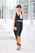black Factory by Erik Hart dress - gold sm accessories purse - gold metal belt