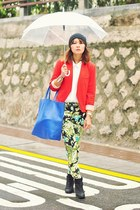 lime green tropical print Zara pants - black ambush Topshop boots