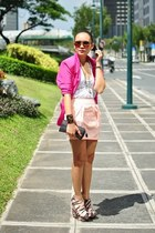 hot pink gifted blazer - white Daley Tees top - peach duchess clothing skirt - s