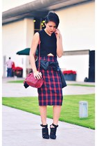 brick red tartan skirt - black bianca Alexander Wang shoes