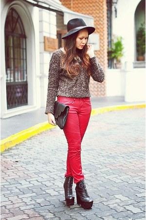 maroon burgundy waxed jeans