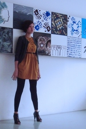 Museum Clothing dress - Topshop cardi - F21 footless tights - lace up shoes from