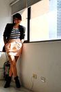 Skirt-black-forever-21-boots-black-love-vintage-manila-blazer-top-foreve