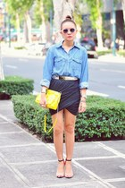 charcoal gray skirt - blue denim thrifted shirt - yellow f21 purse