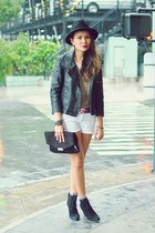 black suede wedge Mango boots - black motorcycle Mango jacket
