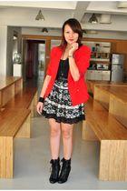 red fasyonablemultiplycom blazer - Tomato skirt - black Forever 21 boots